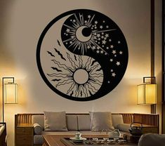 Vinyl Wall Decal Yin Yang Symbol Sun Moon Buddhism Stars Day Night Stickers Unique Gift - new site Yen Yang, Ying Y Yang, Yin Yang Art, Yin And Yang, Yin Yang Tattoos, Yin Yang Designs, Sun Designs, Sol Mandala, Sun And Moon Mandala