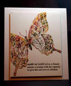 """By Eileen Godwin. Ink """"Swallowtail"""" by Stampin' Up with Distress scattered straw. Ink on top of this with Distress markers using the thumping technique."""