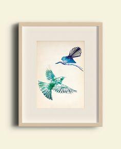 Blue Fantail and Green Tui Bird Illustration Print by IlluminatedLetters on Etsy