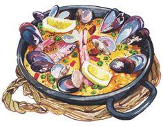 paella illustration watercolour seafood mussels prawns