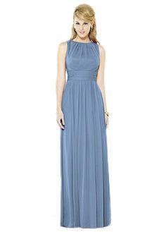 After Six 6709: A modest high neckline bridesmaid dress.