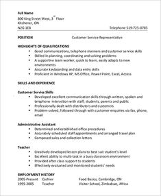 Customer Service Resume Examples, Customer Service Jobs, Resume Cover Letter Examples, Cover Letter For Resume, Cover Letter Outline, Resume Summary Statement, Free Resume Format, Chronological Resume, Functional Resume