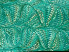 Hand Marbled Paper  Deep turquoise and blues by LosingHerMarbles, $5.00