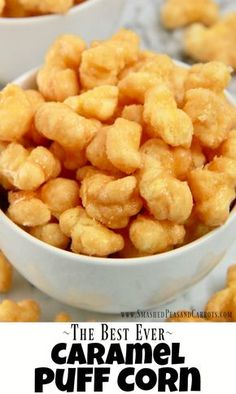 This Caramel Puff Corn is the perfect treat for when you are craving something a little salty and a little sweet. And all you need are four simple ingredients and less than twenty minutes to make this deliciously sweet treat for your next gathering. Caramel Puffed Corn Recipe, Caramel Puff Corn, Puffed Corn Recipes, Microwave Caramel Corn, Baking Recipes, Snack Recipes, Dessert Recipes, Appetizer Recipes, Popcorn Recipes