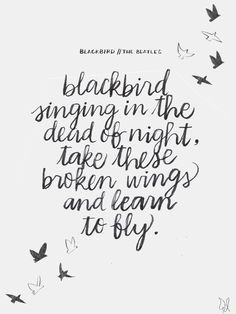 Hope // Blackbird singing in the dead of night, take these broken wings and learn to fly. - The Beatles / Lettering by The Happy Candle / Paul McCartney #lyrics #quote