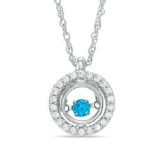 Zales 1/4 CT. T.w. Enhanced Blue and White Diamond Frame Pendant in Sterling Silver dgEJRB42