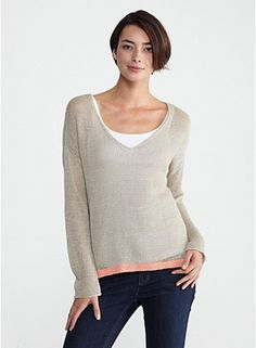 V-Neck Box-Top in Linen Cord The bottom line. A lightweight layering sweater with a contrast trim for a touch of color. (details) Shown in NATURALPAPAYA