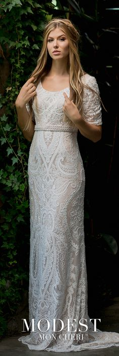 d01d2e619a Quarter Sleeve Scoop Neckline Allover Embroidered Lace Wedding Dress