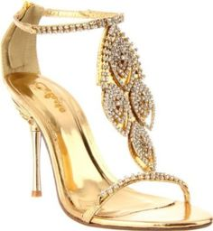 £39.99  Shoehorne Crystal-05 - Womens Dazzling Gold Rhinestone/Diamante T-Strap High Heels Evening Sandals w/ jewelled heel - Avail in Ladies Shoe Size 3-8 UK: Amazon.co.uk: Shoes & Accessories