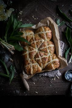 I love hot cross buns, but It occurred to me that a savoury version may be good. I picked some wild garlic while on a