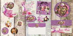 Birthday Invitation-Birthday Card- Ever After High Party Pack- 5 X 5 -2 Sided-Water Bottle Labels, Cupcake Toppers or Favor Tags
