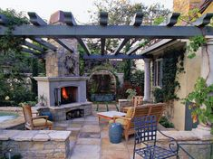 Pergola with Outdoor Fireplace and Water Feature Middle Tennessee