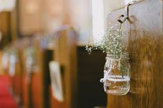 Baby's breath in a mason jar makes a sweet and simple decoration, whether indoors or out.