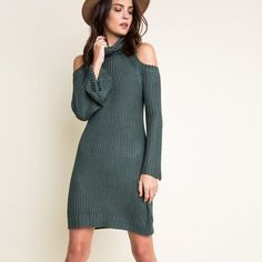 """Dyed Carnations"" Knitted Turtleneck Sweater Dress Knitted cold shoulder turtleneck dress. Available in hunter green and taupe. This listing is for the HUNTER GREEN. Brand new. True to size. 100% rayon. NO TRADES DON'T ASK. PRICE FIRM. Bare Anthology Dresses Mini"