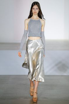 Jill Stuart Spring 2017 - lots of shiny fabrics for spring and the midi skirt lives to fight another day! Three cheers for versatility!