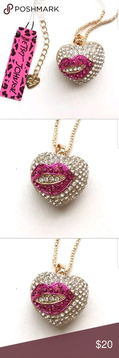 c7962122f Crystal Heart Lip Pendant necklace by Betsey Johns New with inches with a  extender for additional 5 inches Betsey Johnson Jewelry Necklaces