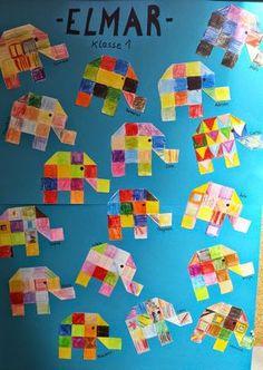 """Passend zum Buch """"Elmar"""" gestalteten die Kinder in Klasse 1 einen kleinen Elefanten. Leider weiß ich nicht mehr genau, woher die Vorlage sta..."""