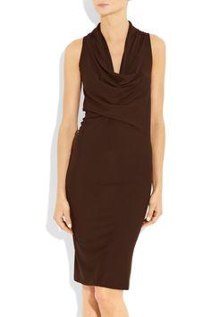 Donna Karan New York Draped Stretchjersey Dress in Brown | Lyst