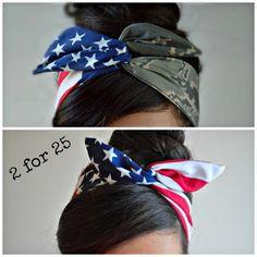 Camo Patriotic Dolly bow, Military American Flag head band, hair bow
