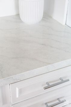 Painting Kitchen Countertops To Look Like Carrara Marble - Painted CARRARA MARBLE marble countertops. I love this website because Diane is very detailed, tak - Painting Kitchen Countertops, Kitchen Countertop Materials, Marble Countertops, Kitchen Paint, Countertop Paint Kit, Bathroom Countertops, Kitchen Cabinetry, Kitchen Redo, Budget Kitchen Remodel