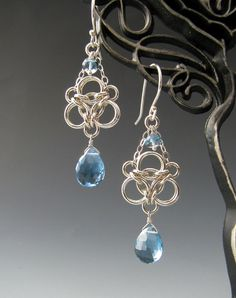 Aura Weave Chainmaille Earrings with London by WolfstoneJewelry