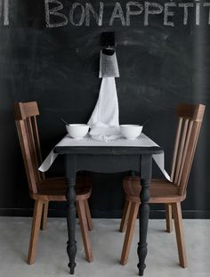 Smoot black paint to paint table in the kitchen nook. Combine with black round lampshade.