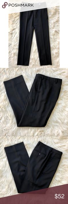 """Men's Paul Smith Black Dress Pants Men's black Paul Smith London Trouser Pants  These have been dry cleaned recently and not worn since then. The writing on the inside tag has worn off and my boyfriend can't recall the exact size. He thinks maybe a size 32 but don't quote him. Here are the actual measurements. Please review them carefully:  Inseam 31.5"""" Leg opening 16"""" Rise 11"""" Waist 17""""  They are in excellent condition with no flaws (except faded tag on the inside). Great dress pants for…"""