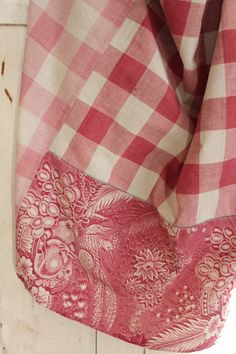 Antique French Vichy check fabric + 1830 toile d' Alsace PIECED LOVELY !!!! Shabby chic pink faded tones  www.textiletrunk.com