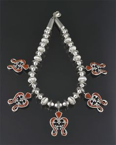 Silver & Coral Squash Blossom Necklace by Earl Plummer (Navajo)