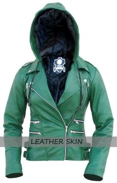 Leather Skin Women Hoodie Green Brando Genuine Leather Jacket with Black Sleeves Plus Size Leather Jacket, Green Leather Jackets, Leather Jacket With Hood, Tracksuit Pants, Leather Skin, Layering Outfits, Black Leggings, Casual Looks, Hooded Jacket