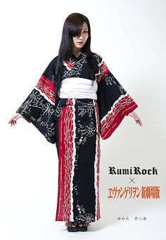 Rumi Rock has collaborated with Evangelion to produce this yukata, in predominantly neutral kimono colors, but subtly textured and far too expensive. ^^  The soft obi she is wearing is basically a heko obi, as men or little girls wear. It is most correctly worn with an obi-stiffener underneath as the obi itself provides virtually no support to the garment. Even though this is yukata, you shouldn't be sitting slumped with wrinkles around your belly.  This yukata is bold and could be used in
