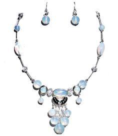 Statement Necklace Moonstone Opal Essence Faux by VeeRamzJewelry