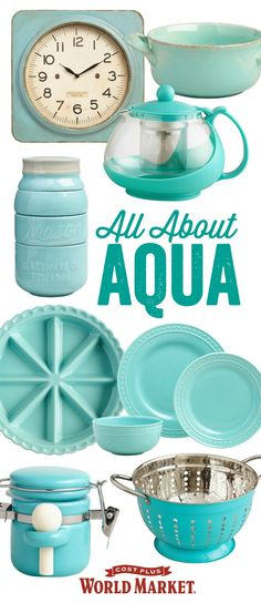 épinglé par ❃❀CM❁✿It's your world. Paint it aqua with accent furniture, decor, dinnerware and art in this cooling and calming hue. Bring home the look! Verde Aqua, Azul Tiffany, Retro Home Decor, Do It Yourself Home, Organizer, Accent Furniture, Furniture Decor, My Favorite Color, Vintage Kitchen