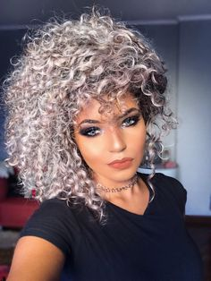 Public domain hair color ideas 2014 colored curly hair, grey curly hair и. Grey Curly Hair, Colored Curly Hair, Curly Hair Styles, Natural Hair Styles, Bob Haircut Curly, Medium Curly, Ombré Hair, Ombre Hair Color, Trending Hairstyles