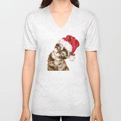 Christmas Baby Cat Unisex V-Neck by bignosework | Society6