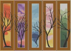 Five Trees - Counted Cross Stitch Pattern (X-Stitch PDF) Thanks for visiting my store! This cross-stitch pattern was personally and lovingly Cross Stitch Needles, Cross Stitch Fabric, Counted Cross Stitch Patterns, Dmc Embroidery Floss, Back Stitch, Colour Images, Le Point, Large Prints, Printing Services