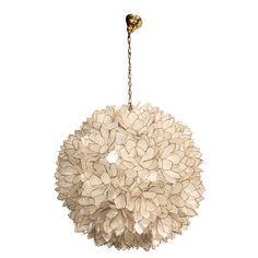 capiz shell chandelier   Two Globular Capiz-shell Chandelier, French 1960s