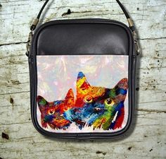 Small Sling Bag Purse Cat 608 Digital Colorful Art Painting By L.Dumas