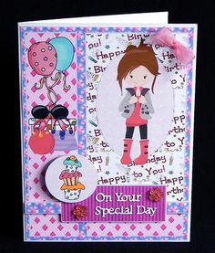 Fashion girl birthday card front 3 on Craftsuprint designed by Sharon Poore - made by Denise Murray - Printed onto matte photo paper and mounted onto an A5 card blank.I used 3d foam pads to build the layers,added my own On Your Special Day sentiment and embellished with co-ordinating crystal flowers and bow...great design! - Now available for download!