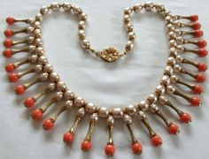 VTG MIRIAM HASKELL SIGNED DANGLING CORAL GLASS & PEARL EGYPTIAN NECKLACE