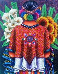 """A beautiful woman delights the eye; a wise woman, the understanding; a pure one, the soul."" ~ Minna Antrim Artist: Pedro Arnoldo Cruz Title: Sunflowers and Calilies Mexican Artwork, Mexican Paintings, Mexican Folk Art, Hispanic Art, Mexican Heritage, Mexico Art, Mexican Artists, Chicano Art, Button Art"