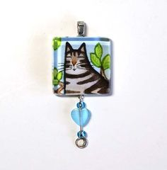 SALE... Tabby Cat Cat Glass Pendant by SusanFayePetProjects, $9.00