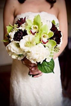 I like this for your bridal bouqet. The contrast with the dark flowers is nice without going as dark as black.  Love white peonies and May is perfect timing for those I think :)