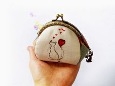 Coin purse / Cat purse / Hand painted purse