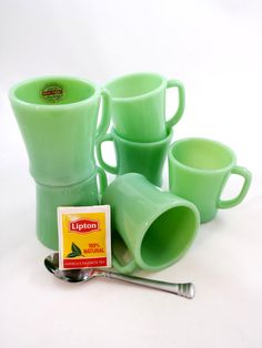 Vintage FIRE KING Jadite Jadeite D Handle Mugs One With Label Set of Six by GalleryThreeSixty, $249.95