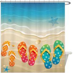Beach Flip Flops Shower Curtain 130R  Flip Flop Shower Curtain
