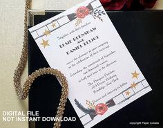 Printable Hollywood invitation, Movie wedding, old hollywood invitation, Movie theme party invitation, Hollywood theme party invitation by PaperColada on Etsy