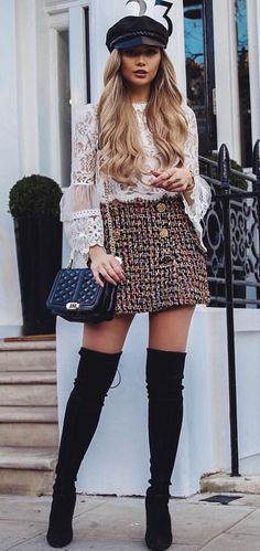 Thigh High Boots Outfit Street Style Ideas 12 Overknee Stiefel Outfit Street Style Ideen 12 – Fiveno This. Winter Fashion Outfits, Look Fashion, Fall Outfits, Autumn Fashion, Fashion Black, Unique Fashion Style, Skirt Outfits For Winter, Fall Fashion Boots, Winter Boots Outfits