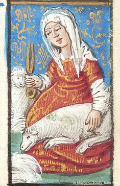 Month, Occupation: June — Woman, wearing headscarf, holding scissors (shears) in right hand, sits and holds sheep in her lap    Book of Hours   France, Rouen   ca. 1490   The Morgan Library & Museum