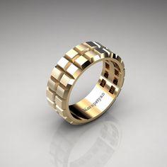 Mens Modern 14K Yellow Gold Brushed Top Gear Solid Wedding Band G10164BT-14KYG